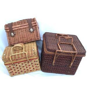 Vintage wicker rattan wine picnic baskets COMING